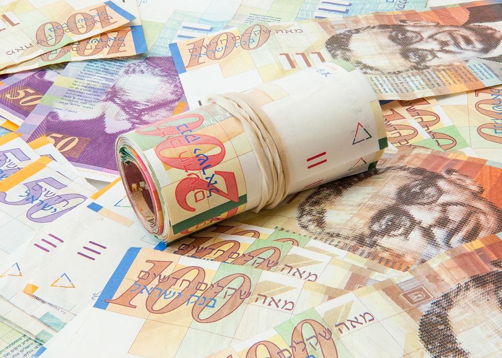 Israeli shekel notes background